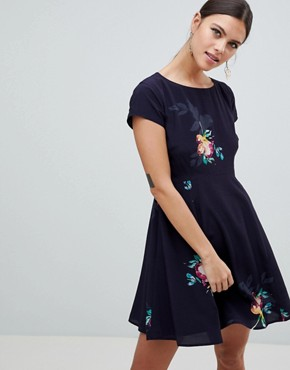 photo Delphine Floral Print One Shoulder Dress by French Connection, color Utility Blue Multi - Image 1