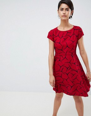 photo Rosalind Printed A-Line Dress by French Connection, color Cranberry Crunch - Image 1