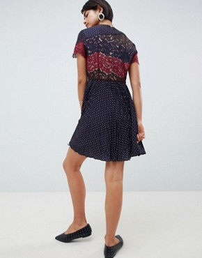 photo Phoebe Mix Lace Polka Dot Dress by French Connection, color Navy Multi - Image 2