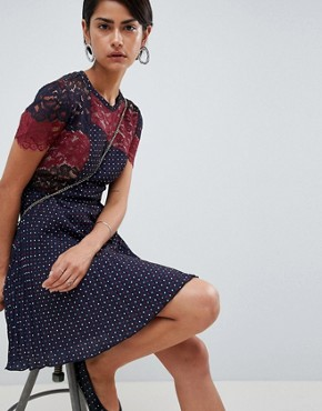 photo Phoebe Mix Lace Polka Dot Dress by French Connection, color Navy Multi - Image 1