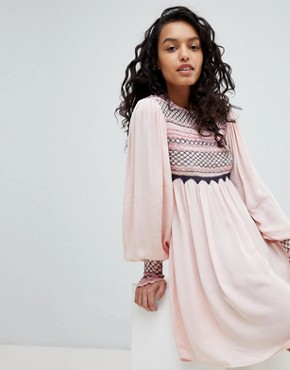 photo Late Night Picnic Smock Dress by Free People, color Pink - Image 1