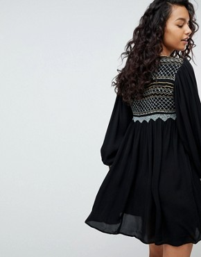 photo Late Night Picnic Smock Dress by Free People, color Black - Image 2