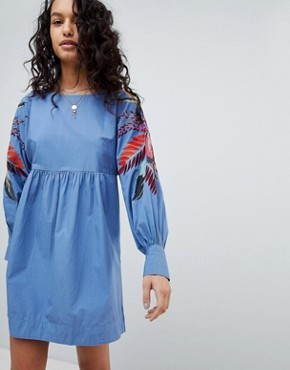 photo Mini Obsessions Floral Mutton Sleeve Dress by Free People, color Blue Combo - Image 1