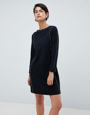 photo Luna Rhinestone Studded Shift Dress by French Connection, color Black - Image 1