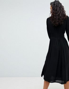 photo Floral Embroidered Midi Dress by Free People, color Black - Image 2