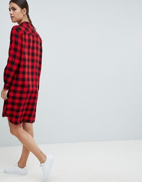 photo Margot Buffalo Check Shirt Dress by French Connection, color Mars Red/Black - Image 2