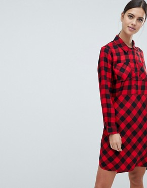 photo Margot Buffalo Check Shirt Dress by French Connection, color Mars Red/Black - Image 1