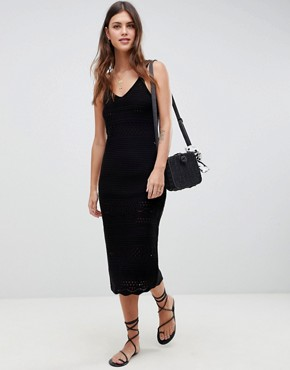 photo Crochet Maxi Dress by ASOS DESIGN, color Black - Image 1