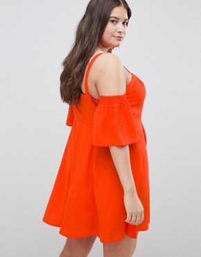photo Puff Sleeve Cold Shoulder Mini Sundress by ASOS DESIGN Curve, color Red - Image 2