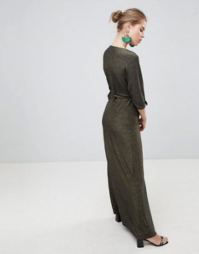 photo V-Neck 3/4 Sleeve Wrap Maxi Dress by Traffic People, color Black/Gold - Image 2