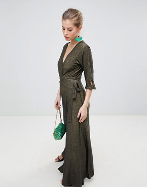 photo V-Neck 3/4 Sleeve Wrap Maxi Dress by Traffic People, color Black/Gold - Image 1