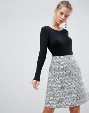 photo Long Sleeve 2-in-1 Skater Dress with Printed Skirt by Traffic People, color One Colour - Image 1