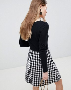 photo Long Sleeve 2-in-1 Skater Dress with Checked Skirt by Traffic People, color Black/White - Image 2