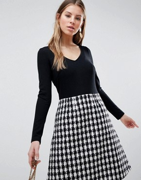 photo Long Sleeve 2-in-1 Skater Dress with Checked Skirt by Traffic People, color Black/White - Image 1