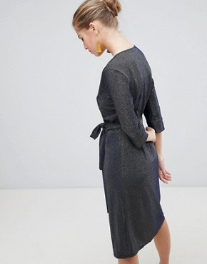photo 3/4 Sleeve Wrap Midi Dress by Traffic People, color Navy - Image 2