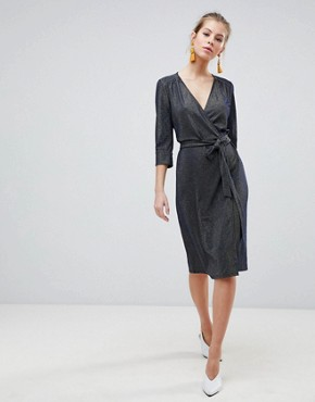 photo 3/4 Sleeve Wrap Midi Dress by Traffic People, color Navy - Image 1