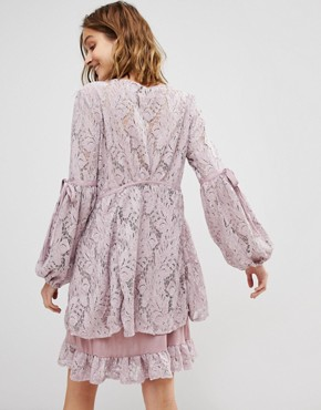 photo Ruby Lace Dress with Tie Sleeves by Free People, color Peach - Image 2