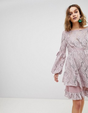 photo Ruby Lace Dress with Tie Sleeves by Free People, color Peach - Image 1