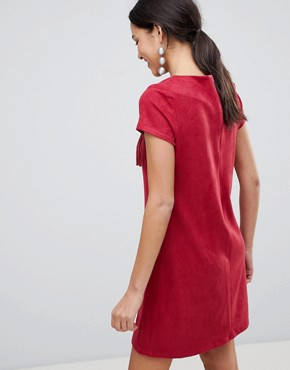 photo Short Sleeve Shift Dress with Fringed Detail by Traffic People, color Red - Image 2