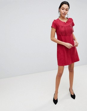 photo Short Sleeve Shift Dress with Fringed Detail by Traffic People, color Red - Image 1