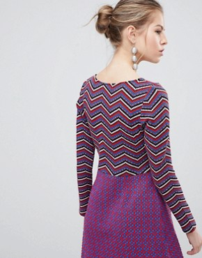 photo Long Sleeve 2-in-1 Skater Dress with Stripped Top by Traffic People, color Black/Red - Image 2