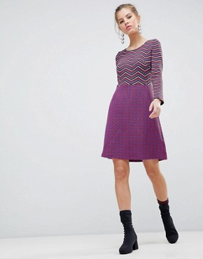 photo Long Sleeve 2-in-1 Skater Dress with Stripped Top by Traffic People, color Black/Red - Image 1