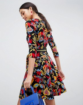 photo 3/4 Sleeve Floral Skater Dress by Traffic People, color Black - Image 2