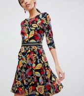photo 3/4 Sleeve Floral Skater Dress by Traffic People, color Black - Image 1