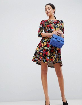 photo 3/4 Sleeve Floral Skater Dress by Traffic People, color Black - Image 4