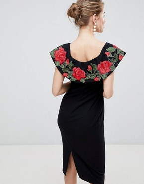 photo Pencil Midi Dress with Rose Embroidery by Traffic People, color Black - Image 2