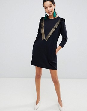 photo Long Sleeve T-Shirt Dress with Fringed Detail by Traffic People, color Black - Image 1