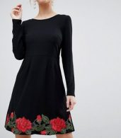 photo Long Sleeve Skater Dress with Rose Embroidery by Traffic People, color Black - Image 3