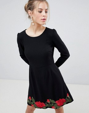 photo Long Sleeve Skater Dress with Rose Embroidery by Traffic People, color Black - Image 1