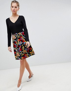photo Long Sleeve 2-in-1 Skater Dress with Floral Skirt by Traffic People, color Black - Image 1