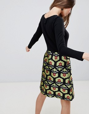photo Long Sleeve 2-in-1 Skater Dress with Printed Skirt by Traffic People, color Black/Gold - Image 2