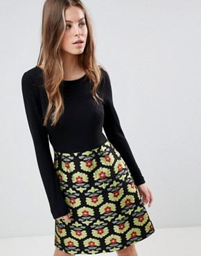 photo Long Sleeve 2-in-1 Skater Dress with Printed Skirt by Traffic People, color Black/Gold - Image 1