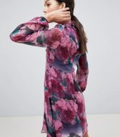 photo High Neck Long Sleeve Shift Dress by Traffic People, color Purple - Image 2