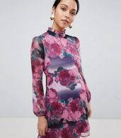 photo High Neck Long Sleeve Shift Dress by Traffic People, color Purple - Image 1
