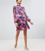 photo High Neck Long Sleeve Shift Dress by Traffic People, color Purple - Image 4