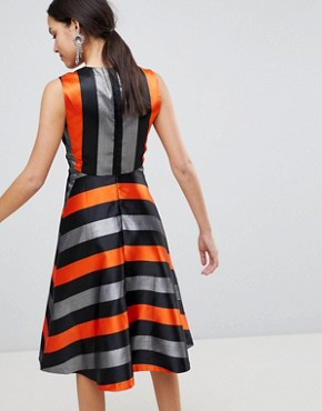 photo Midi Stripe Dress by Traffic People, color Orange/Silver - Image 2