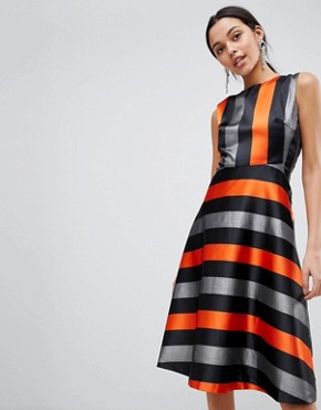 photo Midi Stripe Dress by Traffic People, color Orange/Silver - Image 1
