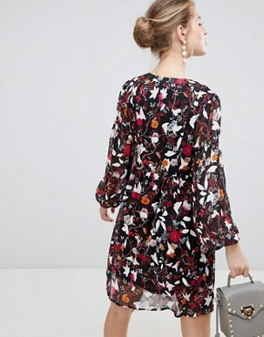 photo Long Sleeve Printed Shift Dress by Traffic People, color Orange/Black - Image 2