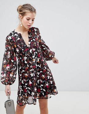 photo Long Sleeve Printed Shift Dress by Traffic People, color Orange/Black - Image 1