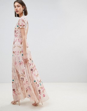 photo Allover Embroidered Plunge Front Maxi Dress by Frock and Frill, color Pink - Image 2