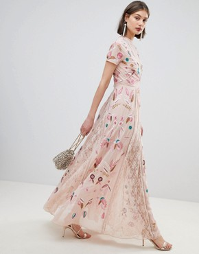 photo Allover Embroidered Plunge Front Maxi Dress by Frock and Frill, color Pink - Image 1