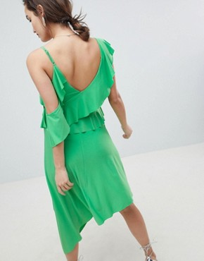 photo Maternity Asymmetric Ruffle Soft Midi Dress by ASOS DESIGN, color Green - Image 2