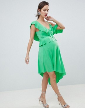 photo Maternity Asymmetric Ruffle Soft Midi Dress by ASOS DESIGN, color Green - Image 1