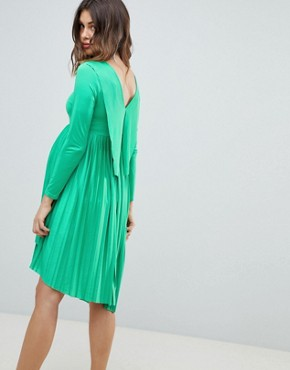 photo Maternity Pleated Long Sleeve Midi Dress by ASOS DESIGN, color Green - Image 2