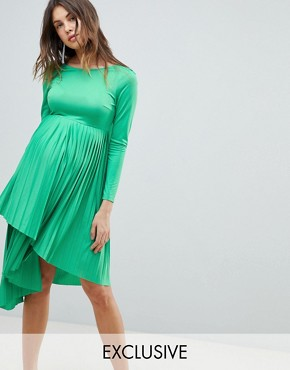 photo Maternity Pleated Long Sleeve Midi Dress by ASOS DESIGN, color Green - Image 1