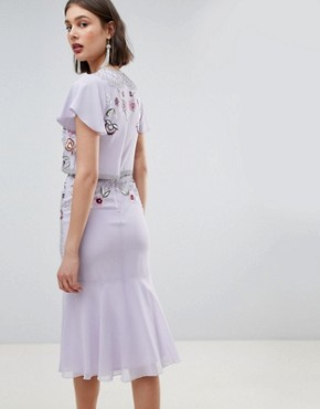 photo Allover Beaded Embroidered Midi Dress by Frock and Frill, color Lilac - Image 2